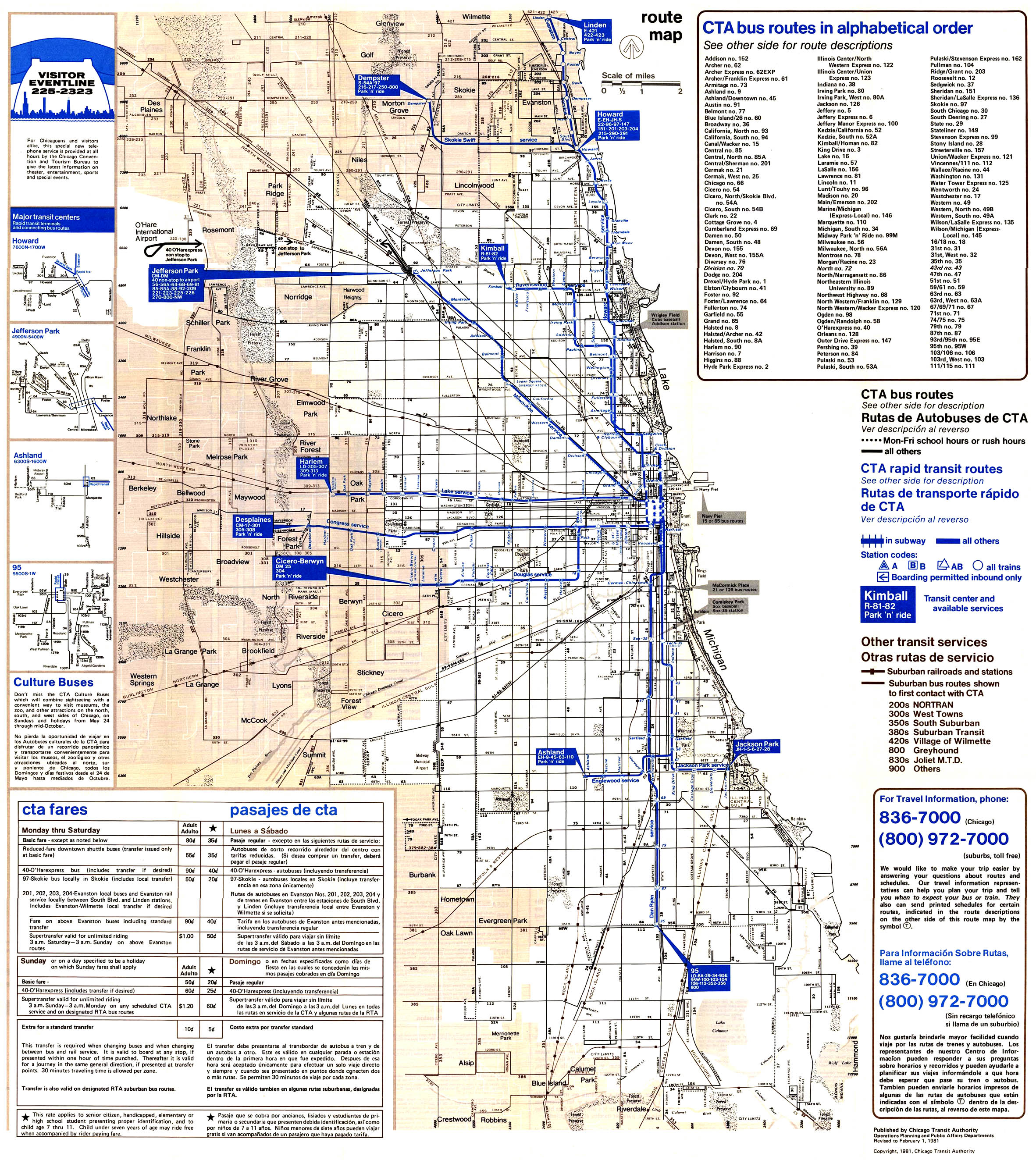 1981map chicago ''l'' org system maps route maps