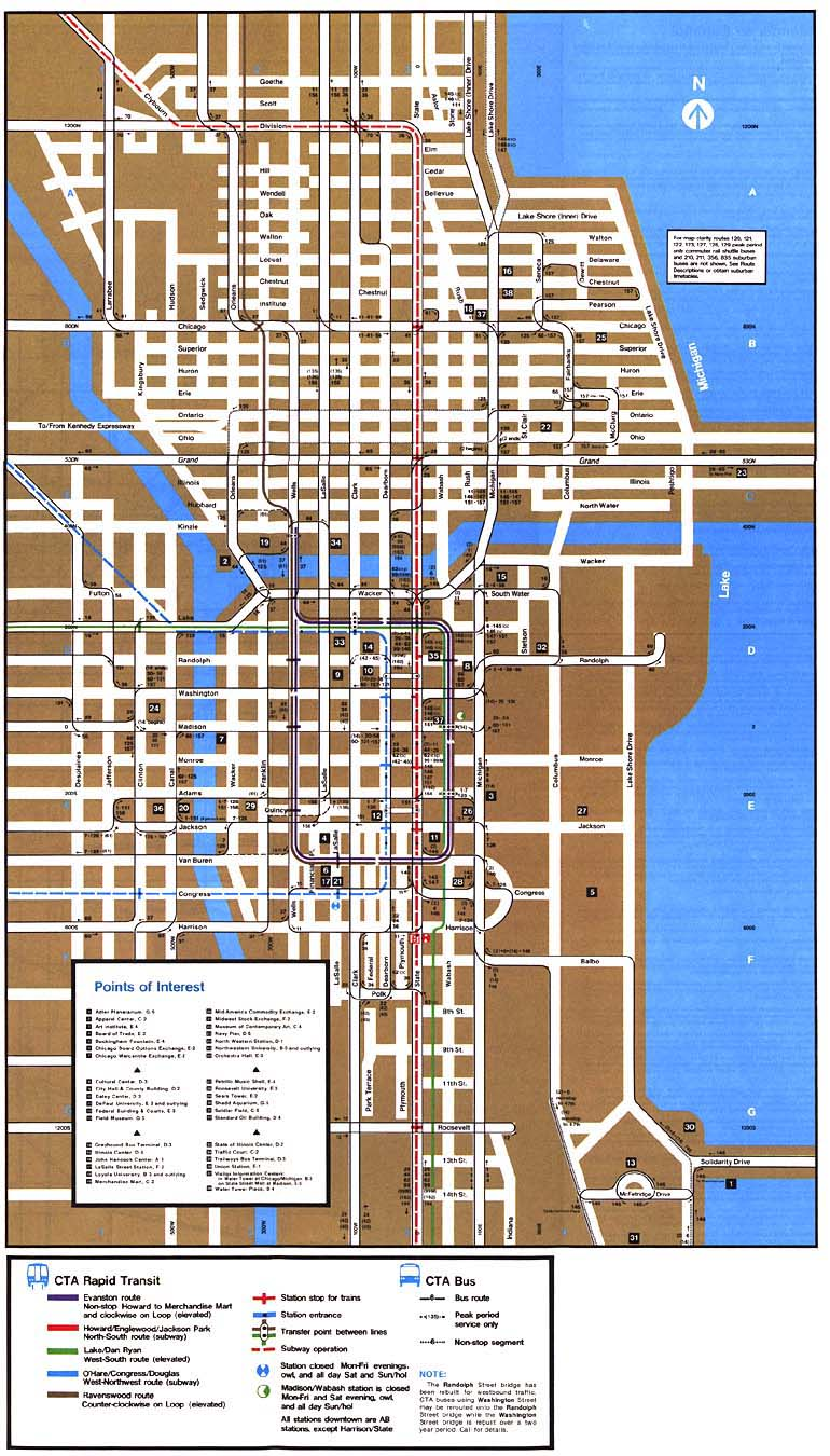 1985downtown chicago ''l'' org system maps route maps