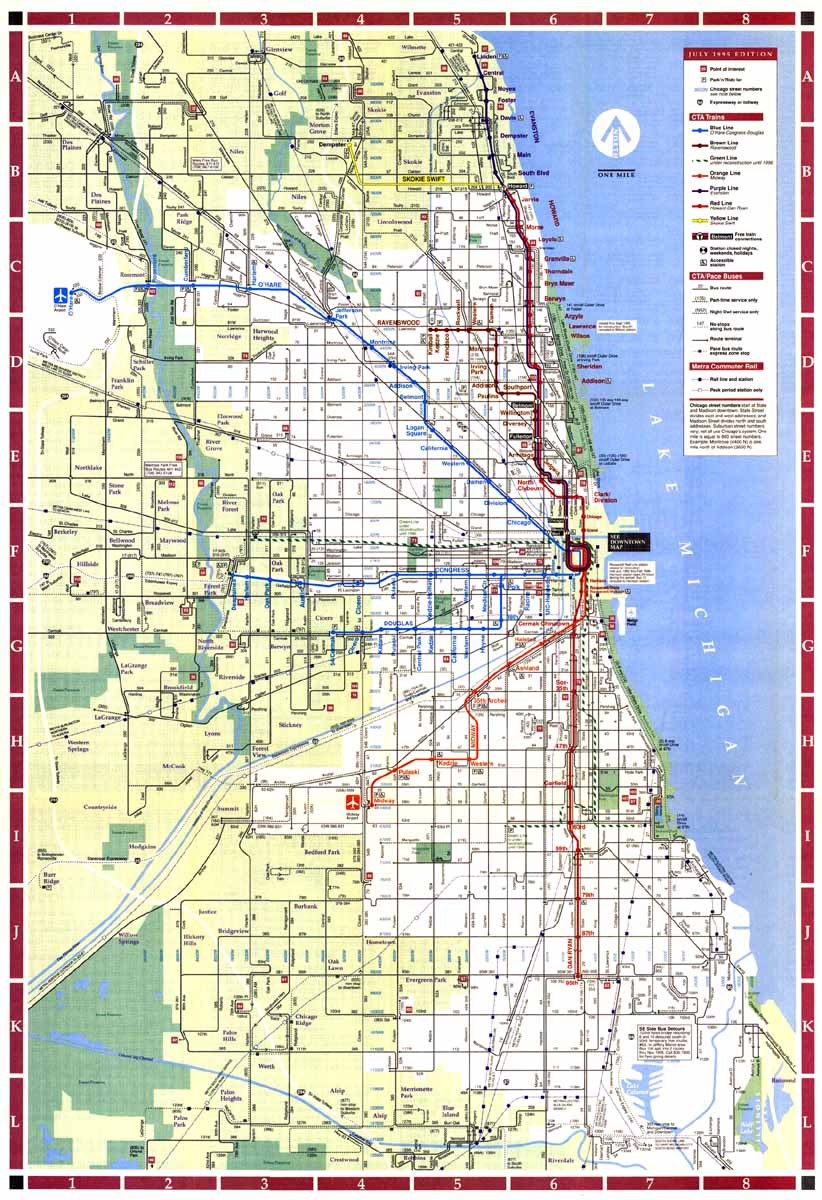 The city map and limits (Chicago, Cicero: neighborhoods, ta ... Chicago City Street Map on