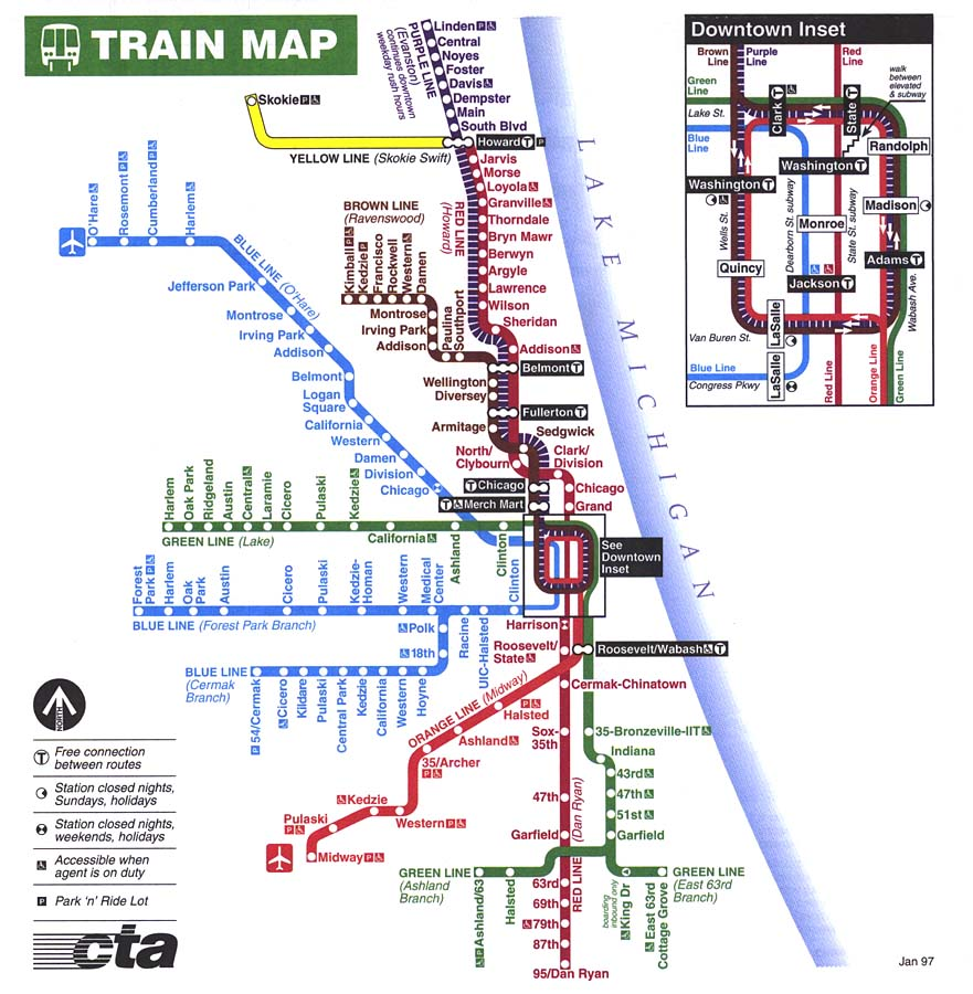 Chicago L Train Map City Submited Images