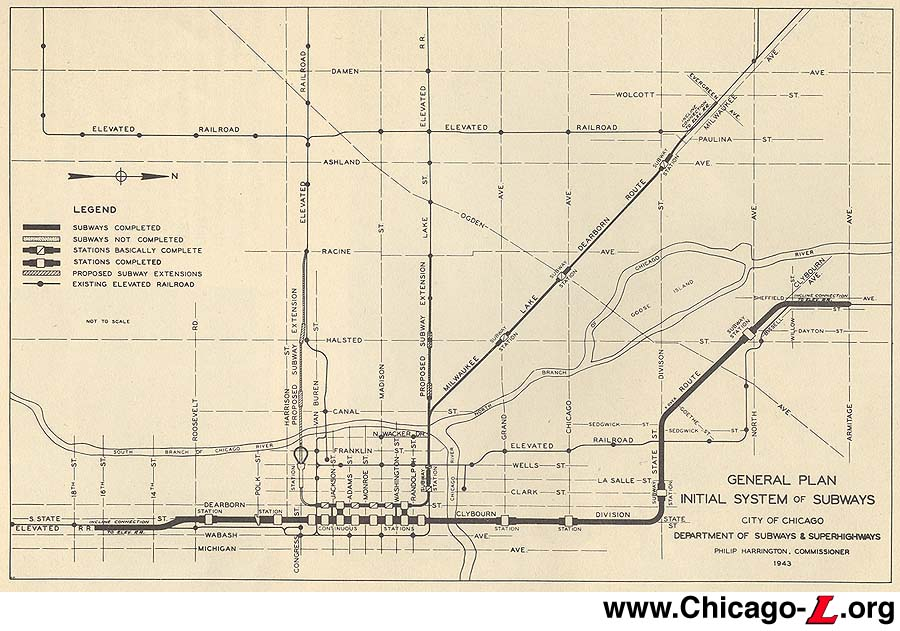 Chicago ''L''.org: Transit Plans - 1939 Comprehensive Subway Plan on