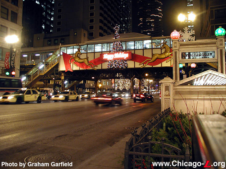 the decorations of the holiday season are seen at statelake on december 18 2003 with reindeer ribbon and christmas lights on the station - Chicago Christmas Station