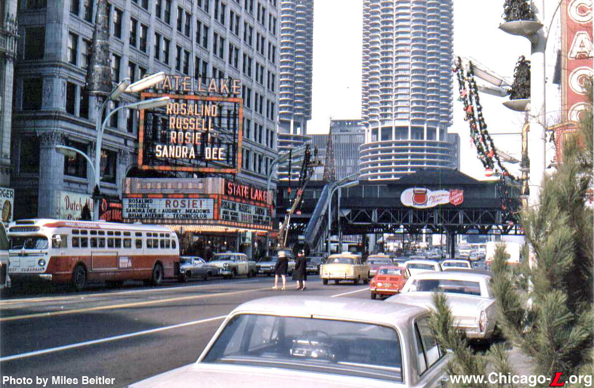 statelake station is seen looking north on state street in during the christmas season of 1967 with the holiday decorations on the street lights and - Chicago Christmas Station